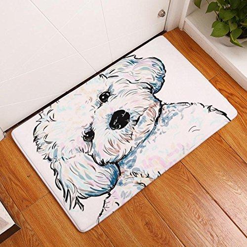 Eazyhurry Cute White Dog Print Rectangle Thin Doormat Pet Puppy Dog Printed Coral Fleece Home Decor Carpet Kitchen Floor Runner Floor Mat Indoor Outdoor Area Rug 16