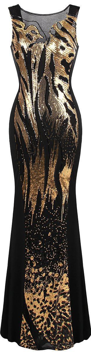 Angel-fashions Women's Sheer Sequins Sheath Mermaid Hollow Out Prom Dress A-348RD