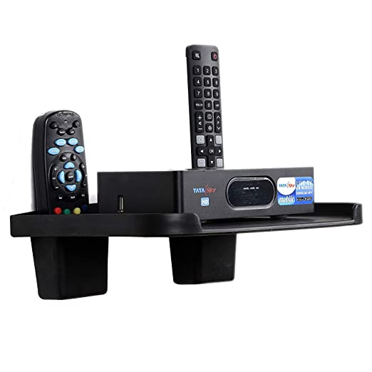 Digway Set Top Box Stand with 2 Remote Holder (Black) TV Wall & Ceiling Mounts at amazon