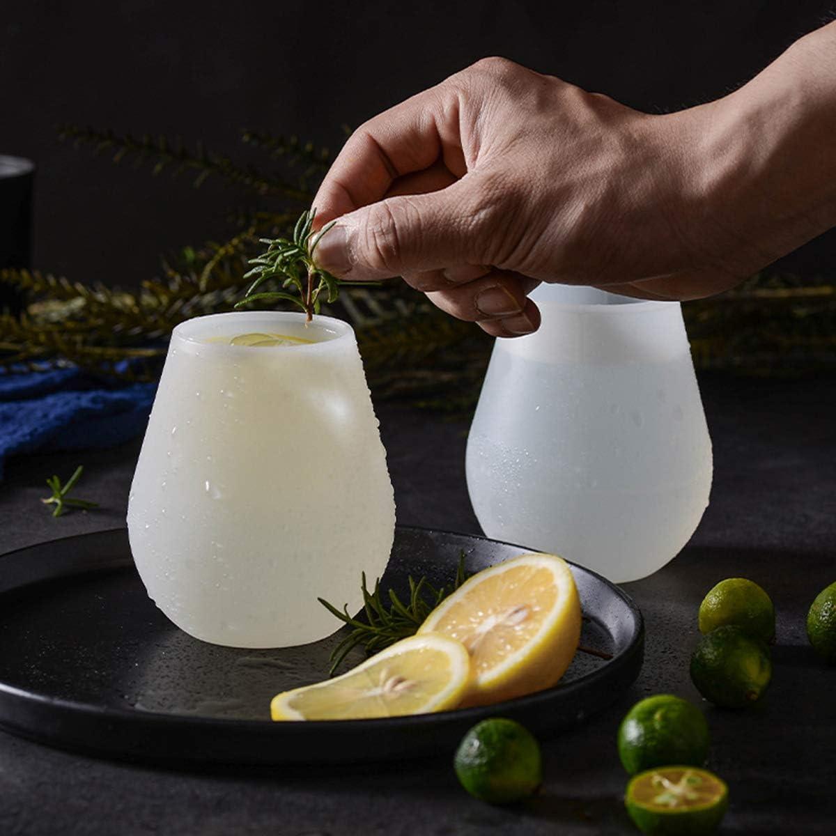 Dancepandas Vasos de Vino 5PCS Stemless Wine Glasses Copas de Vino Silicona Silicone Wine Glasses para Llevar de Picnic o de Camping Blanco