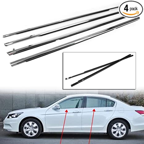 MotorFansClub 4PCS Weatherstrip Window Moulding Seal for Honda Accord 2003  2004 2005 2006 2007, Chrome Door Outside Trim Seal Belt