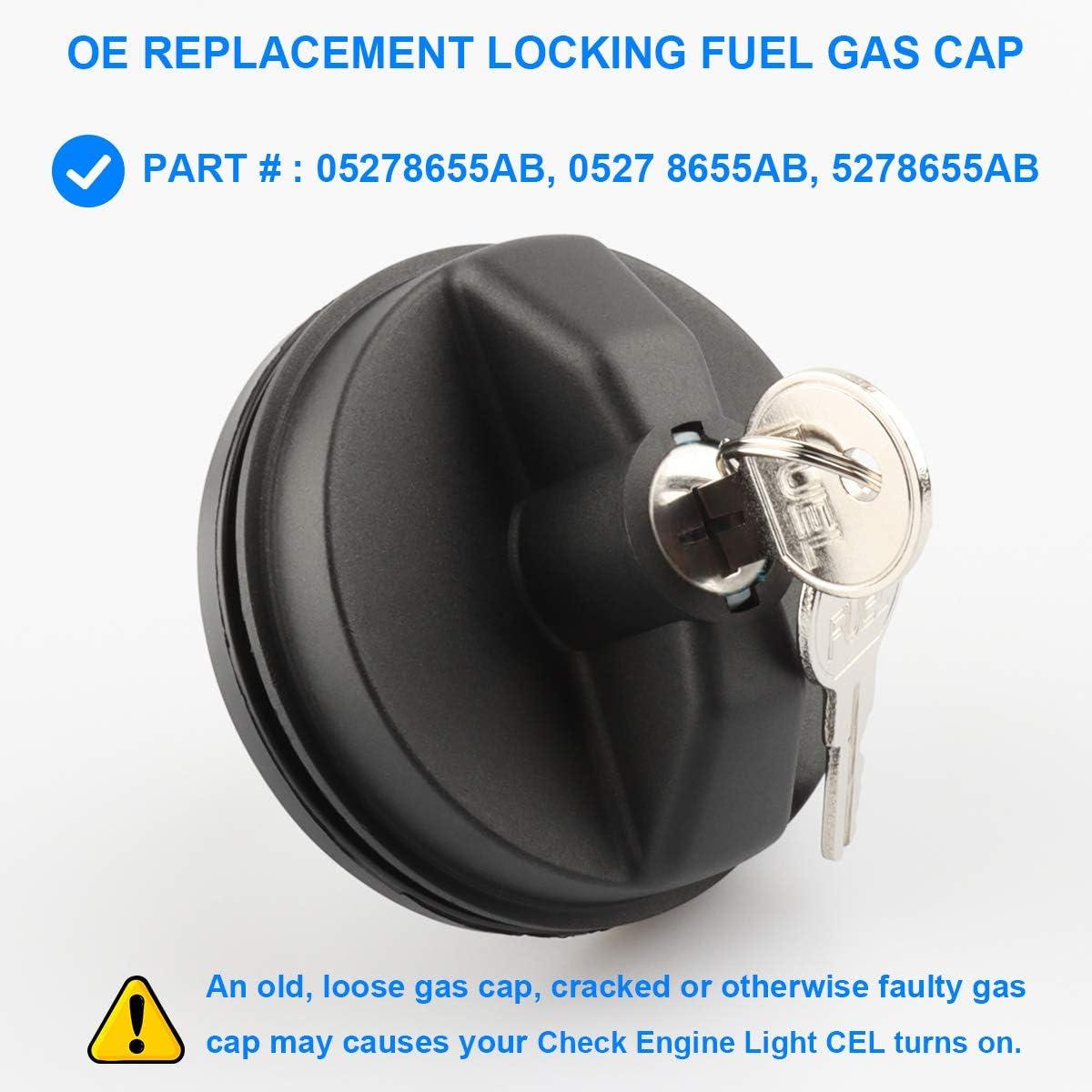 Para Dodge Journey 2007-2016 Negro Cierre Tapa de combustible con dos llaves