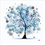Winter Tree, Snowflakes. Christmas Holiday. Paper Print Wall Art (42in. x 42in.)