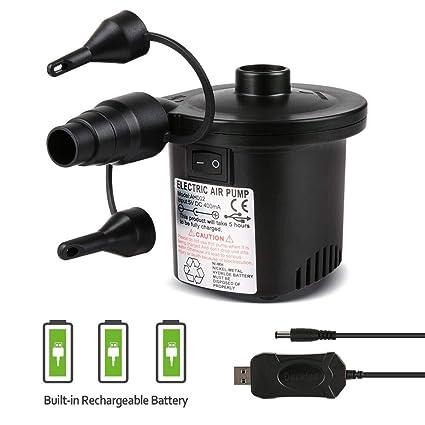 Deeplee Bomba de Aire Eléctrica, Inflador Eléctrico Recargable de llenado Rápido para Inflar/Desinflar