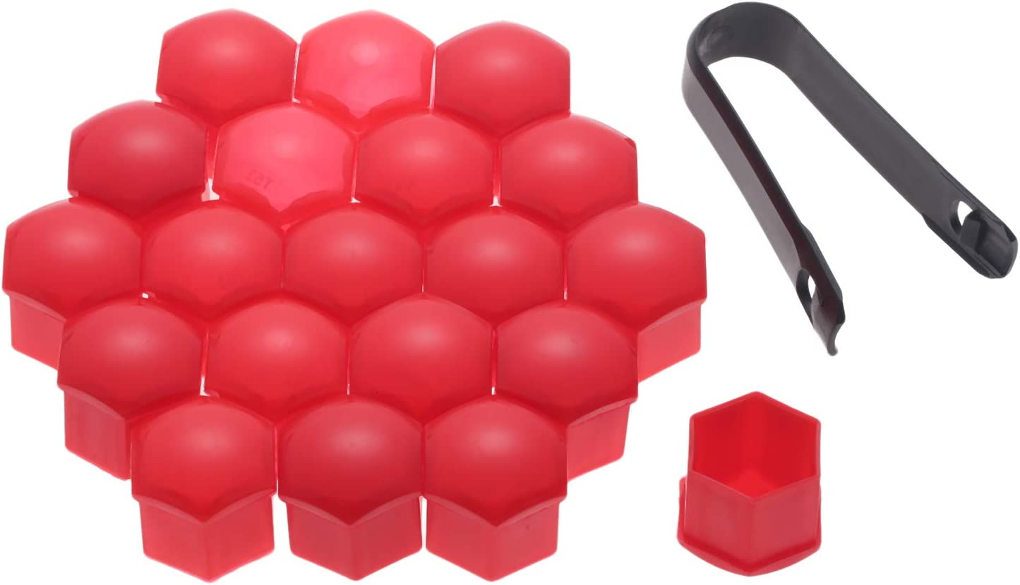 Mtsooning 20Pcs Red Car Styling Wheel Nut Protection Auto Hub Screw Bolt Head Cover Tire Protector 17mm Plastic Remover Tool