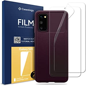 Caseology Vault Case and 2 Pack Film Screen Protector Bundle for Samsung Galaxy S20 - Burgundy
