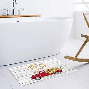 Doormats Entrace Front Door Rug, Valentine's Day You are My Sunshine Indoor/Bathroom/Kitchen/Bedroom/Entryway Floor Mat Decorative, Non-Slip Low Profile Red Truck Car with Sunflowers