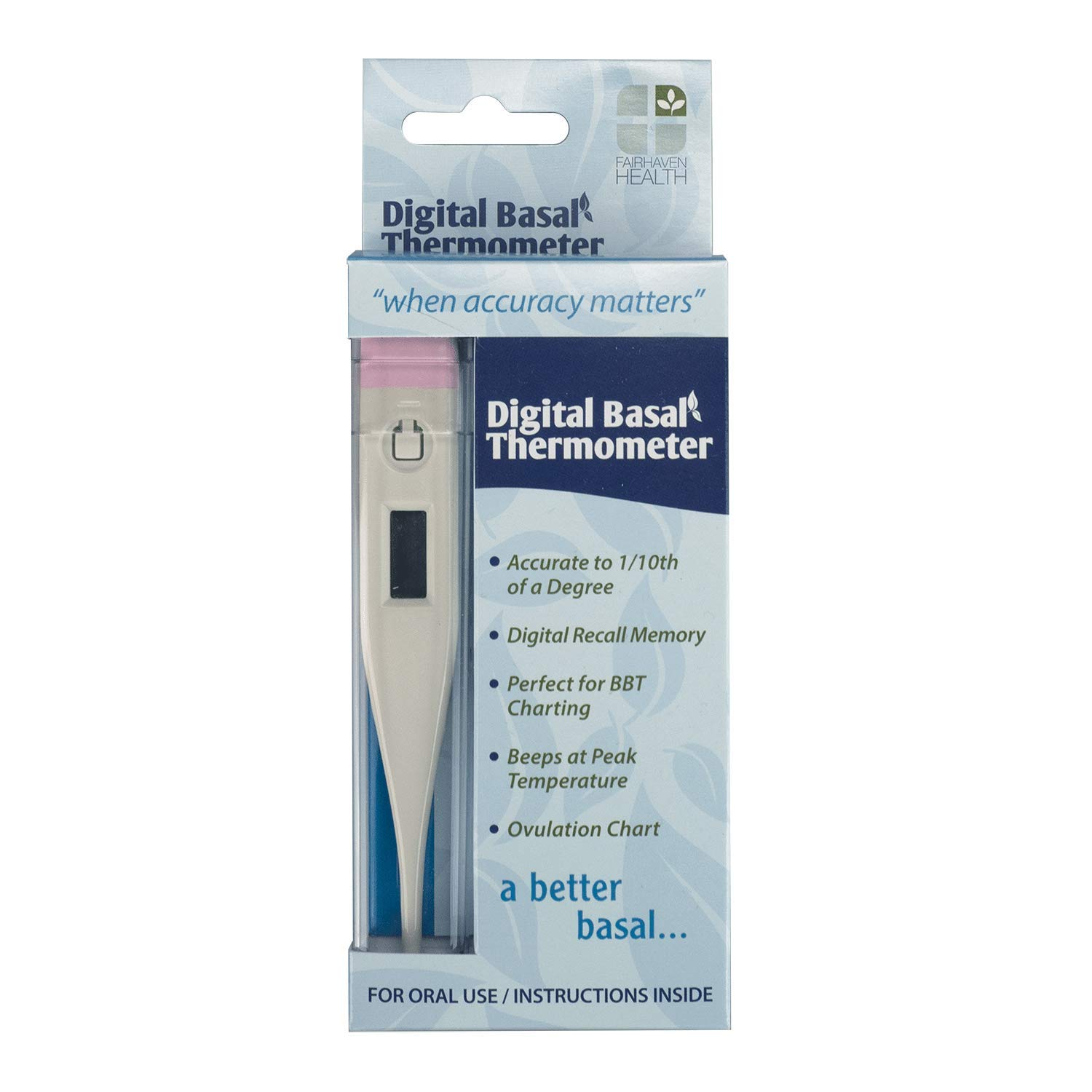 Digital Basal Thermometer for Fertility Charting, Displays to 1/100th Degree