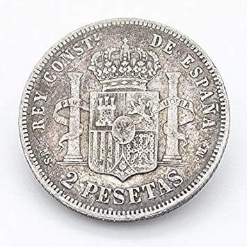 Desconocido Moneda de 2 Pesetas de Plata del Año 1881 Durante La Epoca de Alfonso XII. Moneda Coleccionable. Moneda Antigua.: Amazon.es: Juguetes y juegos