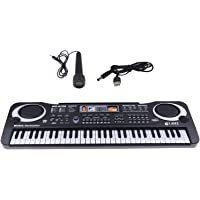 simhoa 61-key Digital Piano Keyboard with Microphone USB Rechargable for Bar Stage