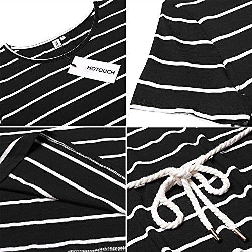 Donkap Mini Rayé Cocktail Décontracté Femmes Mince Robe Et Chemise Rayée Sommeil Vêtements De Nuit M-xxl Noir Rayé Blanc