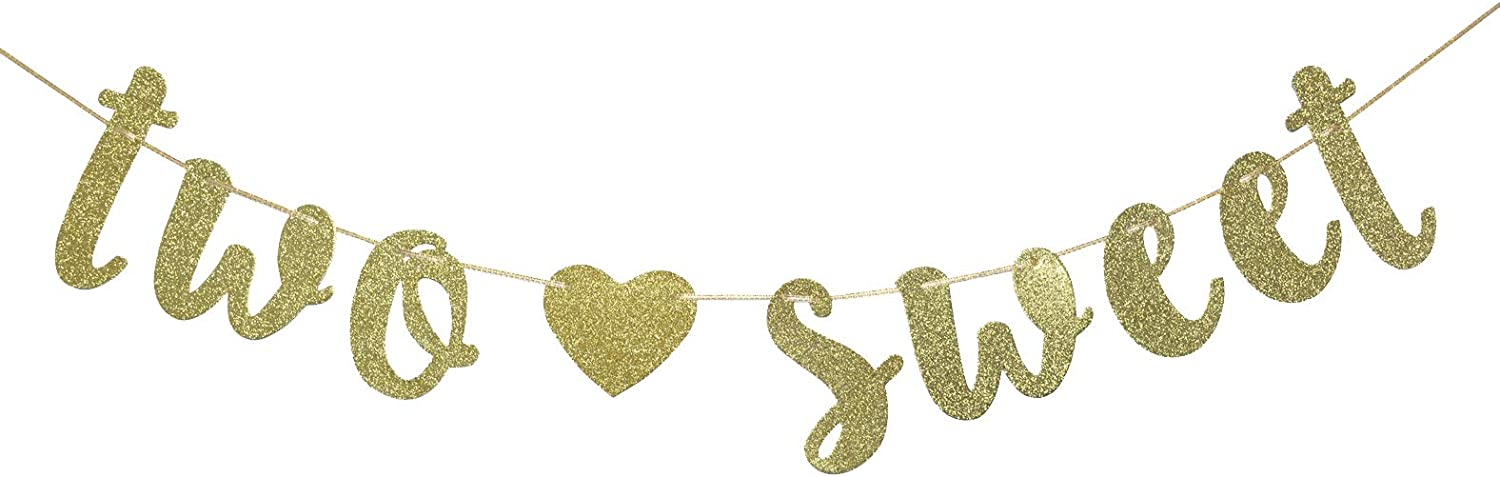 Two Sweet Banner, 2nd Birthday Banner, I'm Two, Second Birthday Banner,Two Sweet Party Decor, Candy Bar, Ice Cream Party Decor(Gold Glitter)