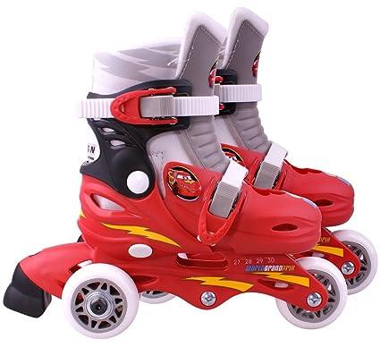 Disney J892301 Cars 2 - Patines en línea con 3 ruedas (talla ajustable 27-