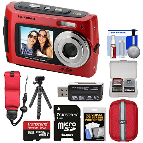 Bell & Howell 2VIEW18 HD Dual Screen Waterproof Digital Camera (Red) with 16GB Card + Case + Floating Strap + Flex Tripod + Reader + Kit by Bell + Howell