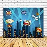 7x5ft Superhero Cityscape Backdrop for Kids Birthday party and Club Event Decoration