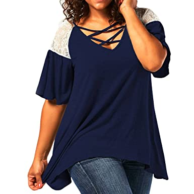 9d52755623b JQjian Womens Fashion Solid Casual V Neck Bat Short Sleeve Tops Curve  Appeal Lace T-