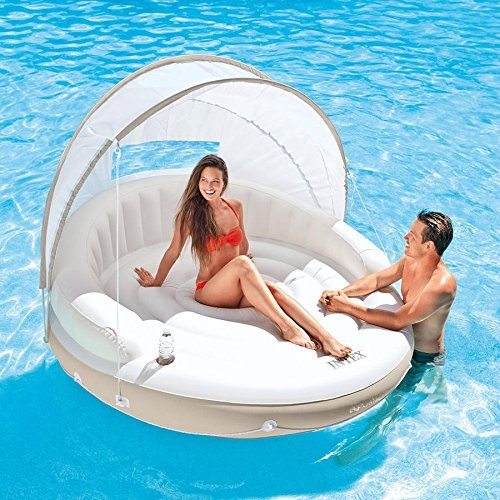 Intex Inflatable Canopy Island Water/Pool Float Lounge with Detachable Fabric Sunshade