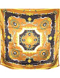 Silk Salon Brand New 100% Heavy Jacqard Charmeuse Silk Scarf Shawl Wrap Brown A117