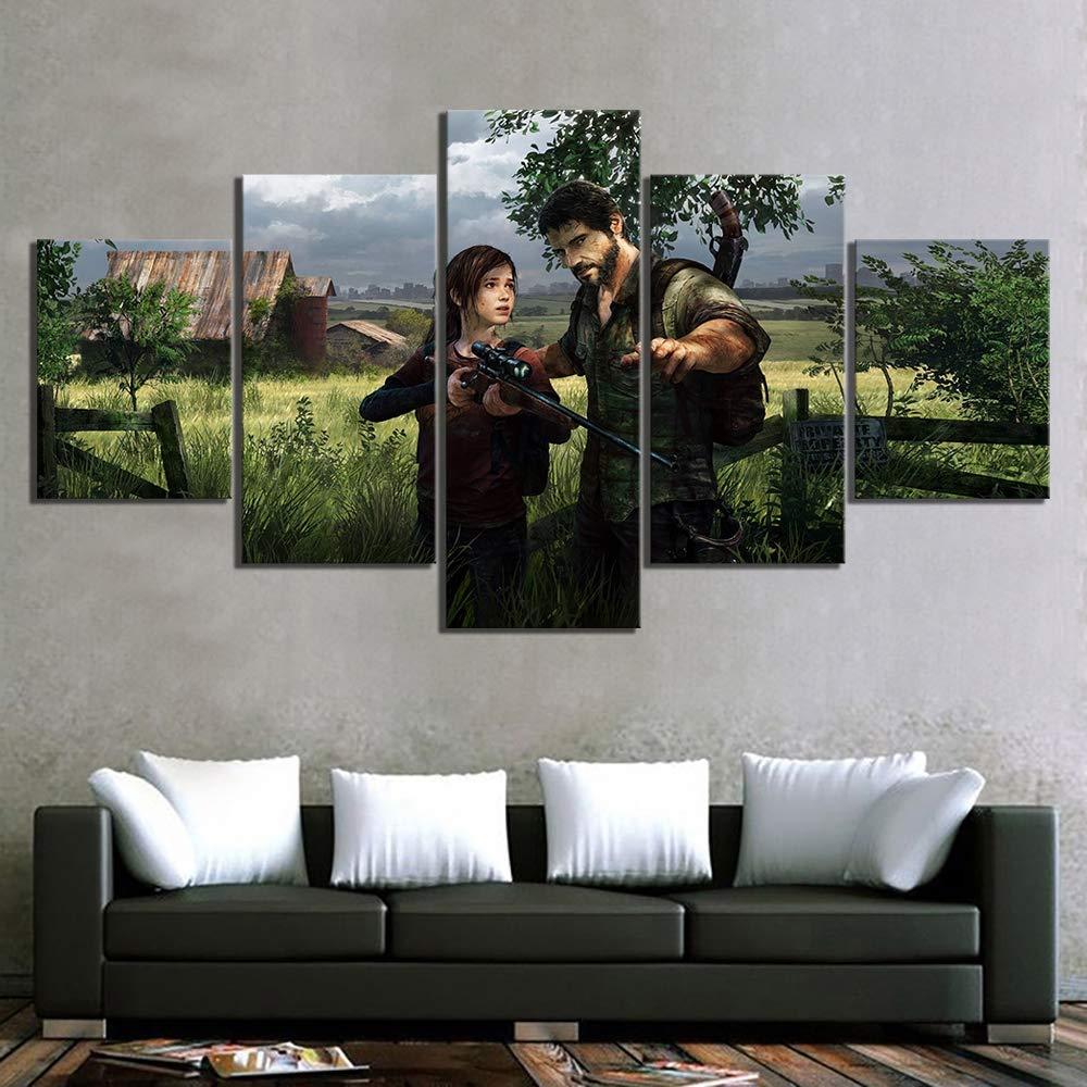 HIMFL Toile imprim/ée des Photos Affiche Art Mural 5 Panneau Jeu vid/éo Last of Us Peintures Accueil D/écoration Module pour Le Salon