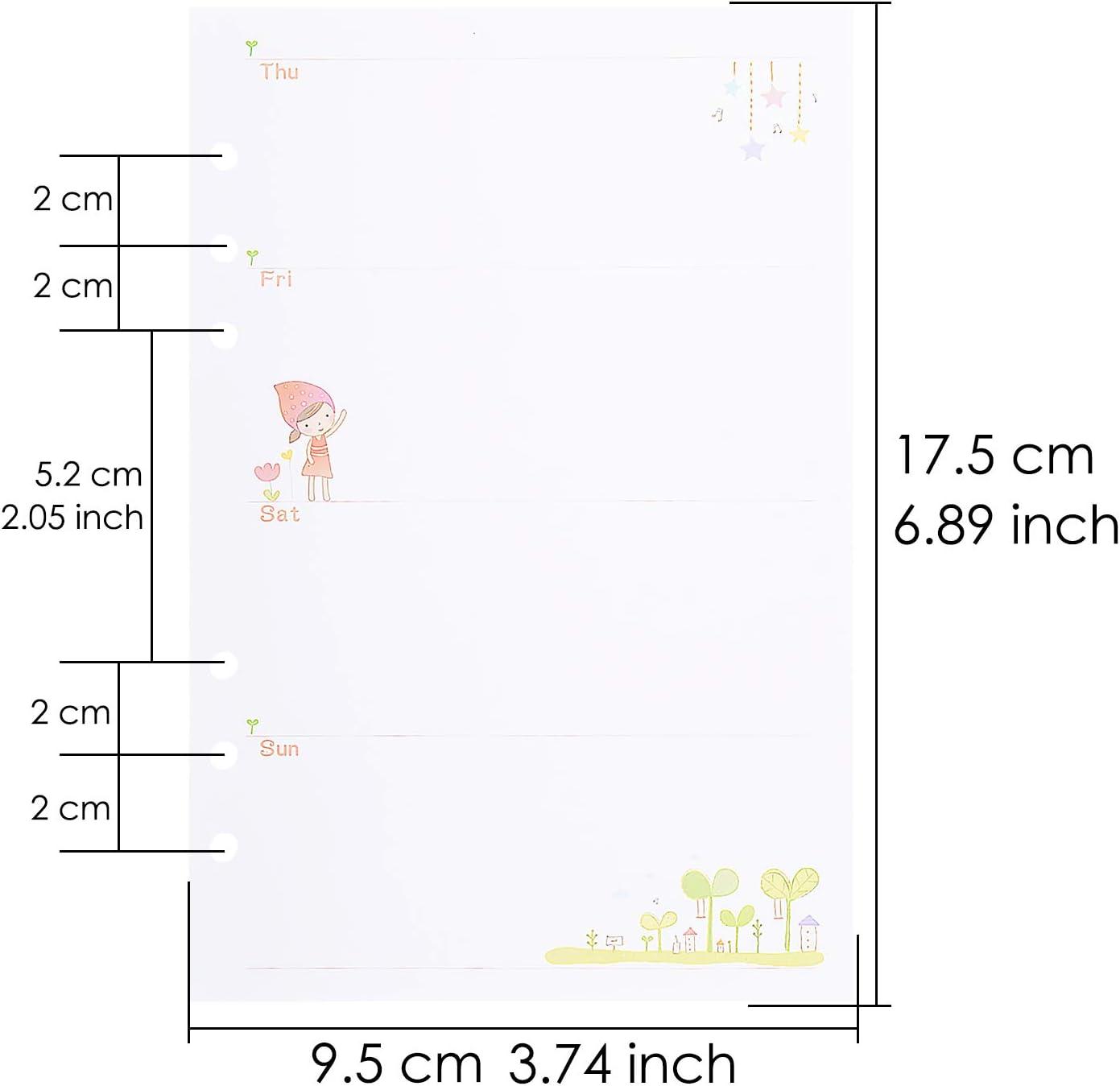 Cartone animato 90 pcs 6-Ring Journal Refills Lined Traveler Notebook Inserti in carta Allentata,21x14cm Larcenciel A5 Binder Refill Paper per Filofax