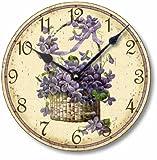 Item C6018 Vintage Style 10.5 Inch Victorian Violets Clock For Sale