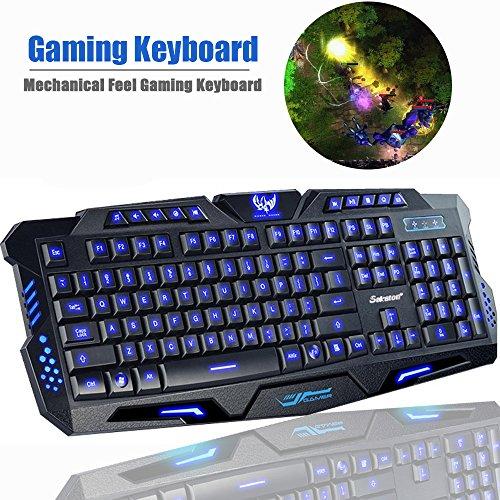 Game Keyboard, Sokaton® M-200 Mechanical Feel Gaming Keyboard, LED Three Color Backlit USB Wired Game Keyboard (Black)