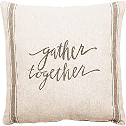 Primitives by Kathy Vintage Flour Sack Style Gather Together Throw Pillow, 20-Inch Square