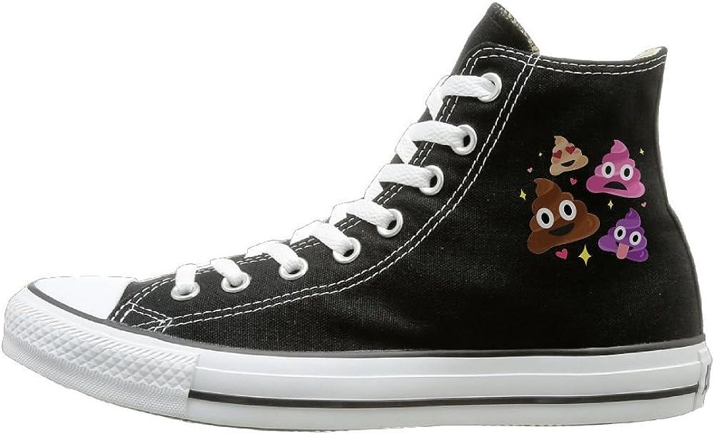 Aiguan Funny Emoji Poop Canvas Shoes High Top Sport Black Sneakers Unisex Style