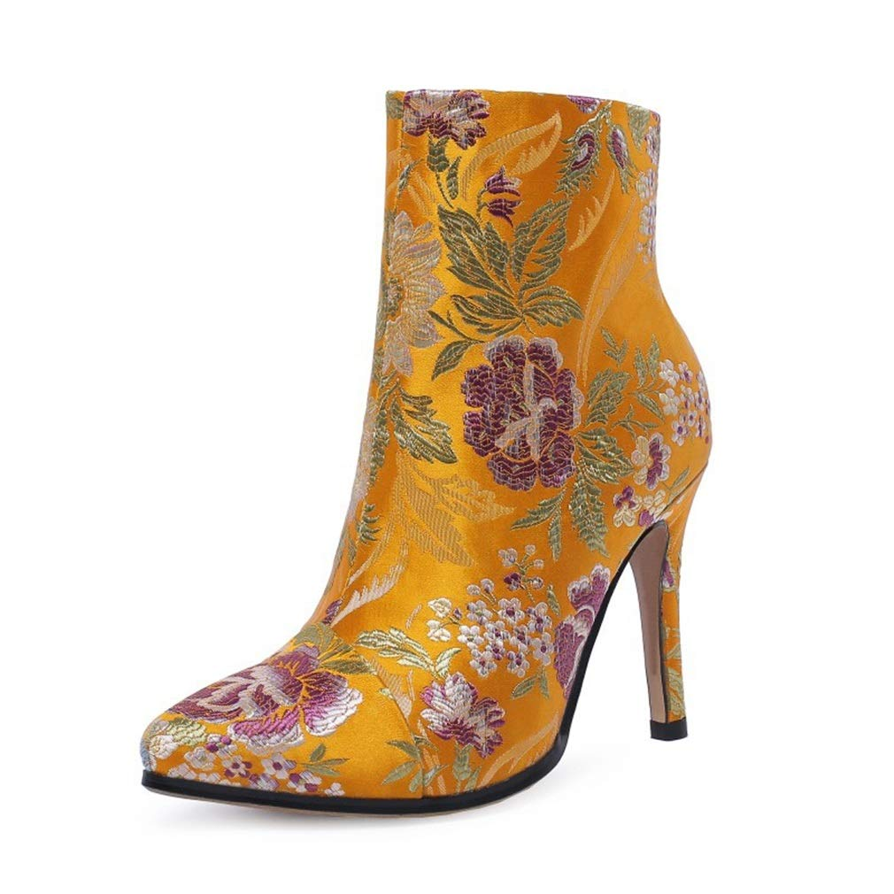 A Women's Fashion shoes Autumn Winter New Vintage Ladies shoes Satin Embroidery Flower High Heel Ankle Boots (color   B, Size   38)