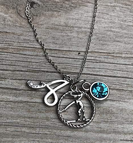 ymnastics Necklace with Letter & Birthstone Charm, Custom Gymnastics Jewelry - Gymnast Necklace For Gymnast ()