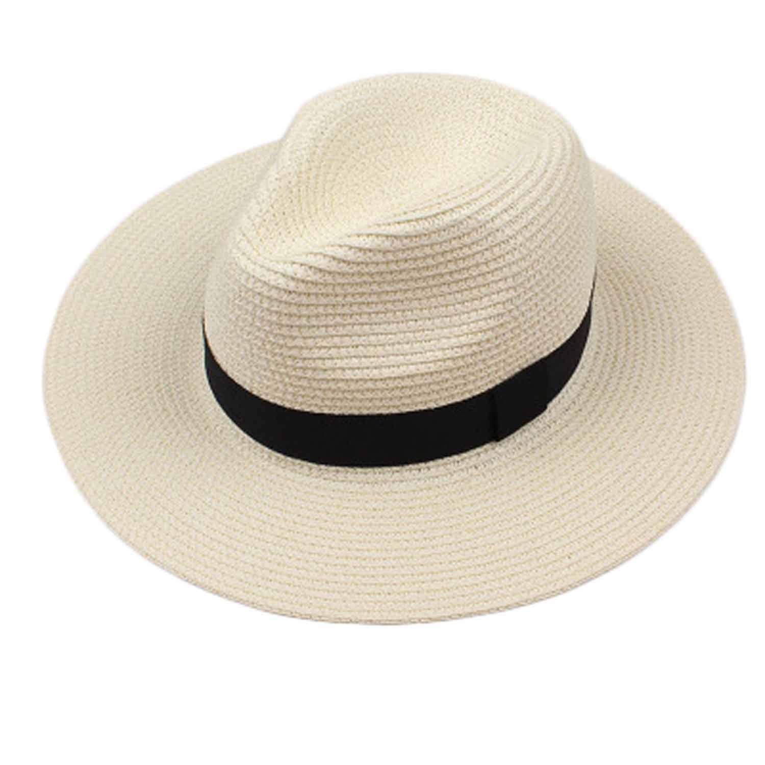 Fashion Summer Straw Mens Sun Hats Trilby Gangster Cap Summer Beach Cap Panama Hat Sombrero Travel Sunhat