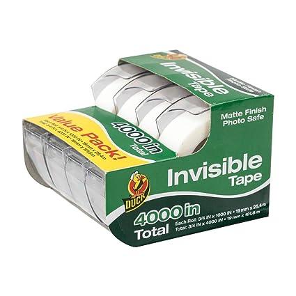 Pato acabado mate Invisible dispensador de cinta adhesiva (4 unidades, 3/4 in