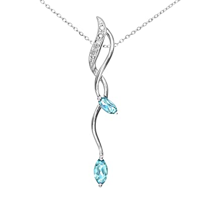 Naava Women's 9 ct White Gold Diamond and 0.50ct Blue Topaz Drop Pendant and Chain Necklace of 46 cm MNImILFKu6