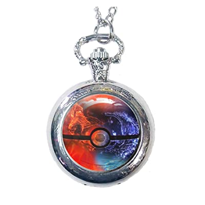 Pokemon Pokeball Pocket Watch Anime Pokemon Go Pikachu Pokemon Locket Wtach Necklace (Style2): Watches