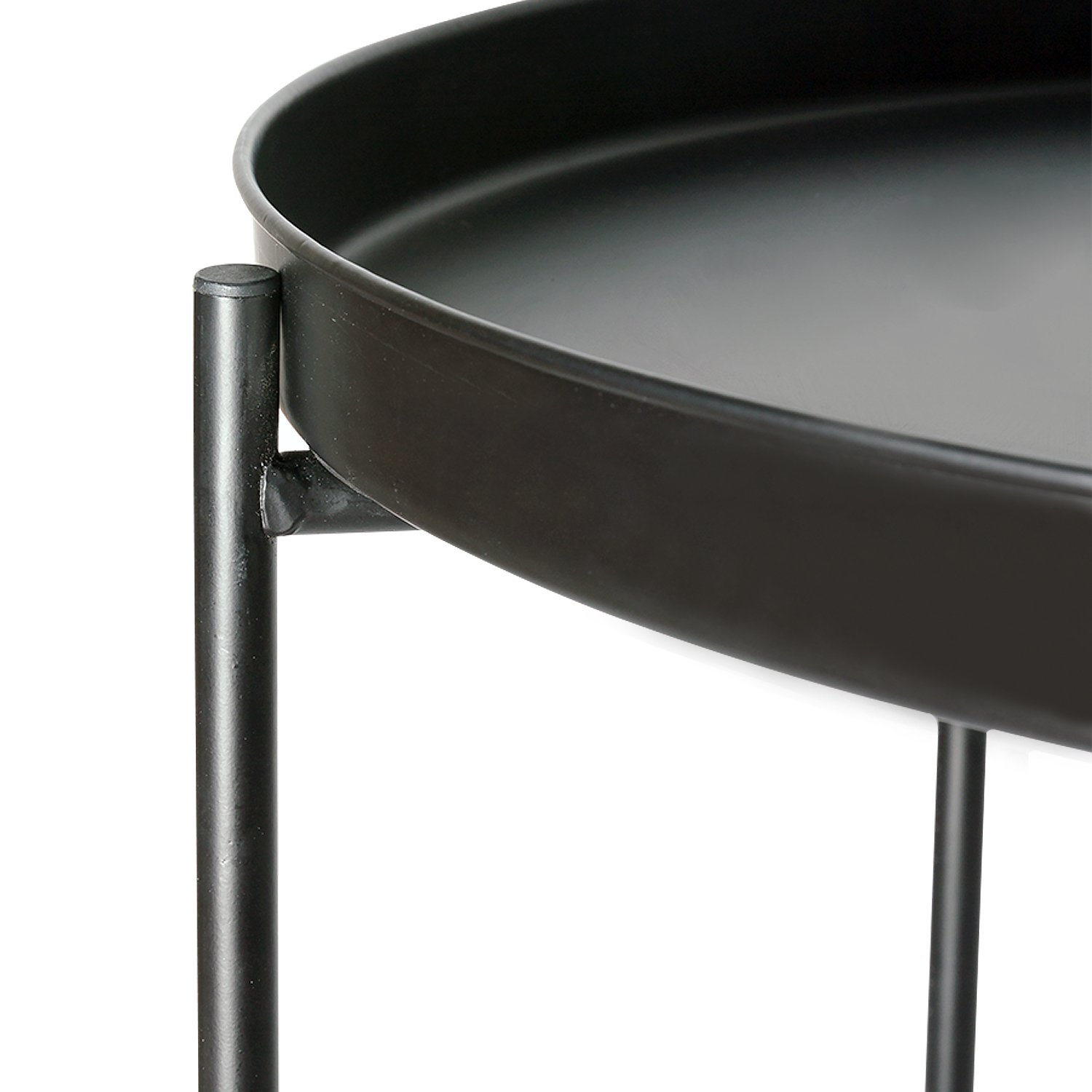 HollyHOME Metal Folding Tray Side End Table, Round Sofa Table, Coffee Table ,Black