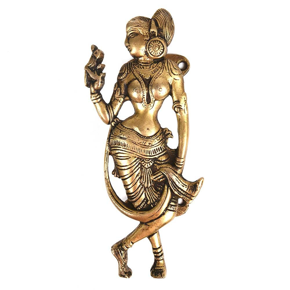 IndianShelf Handmade Brass Golden Dancing Lady with Parrot Cabinet Handle/Pull- 3 Pieces(NMH-184)