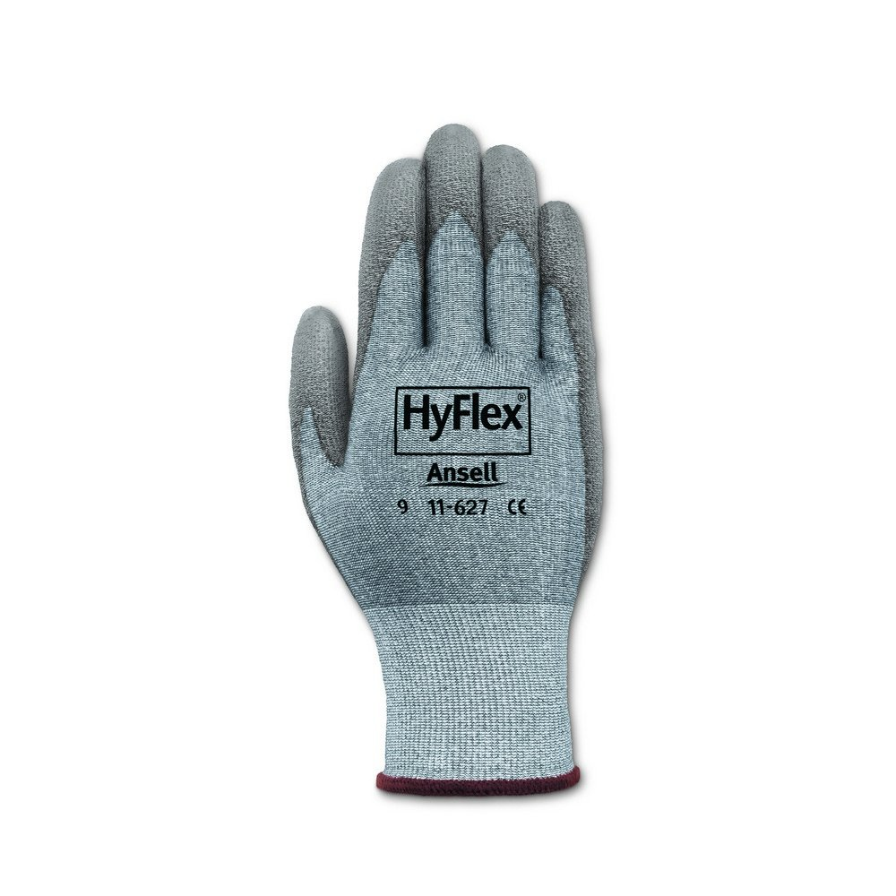 Ansell 116277 HyFlex 11-627 Coated Dipped Dyneema HPPE and LYCRA Lined Gloves, 9'' Length, 5'' Width, 0.29'' Height, Size 7, Gray (Pack of 12) by Ansell (Image #2)