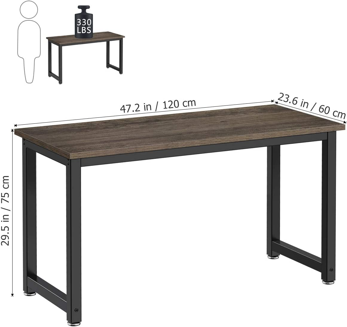 Computer Desk, 47-inch Spacious Computer Table for Home Office, Small Computer Desk for Small Spaces Bedroom