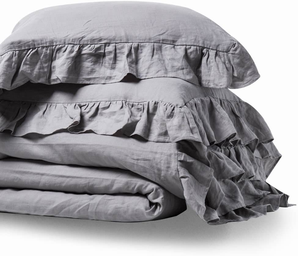 meadow park Stone Washed French Linen Duvet Cover Set 3 Pieces - Super Soft, King Size - 104 inches x 94 inches - Shams 20 inches x 36 inches, Ruffled Style - Button Closure - Corner Ties, Grey Color