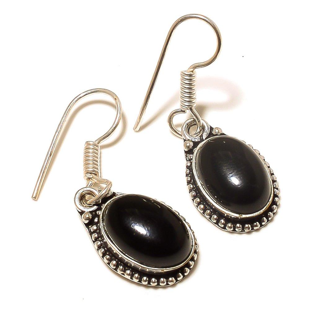 Handmade Jewelry Delicate Black Onyx Sterling Silver Overlay 8 Grams Earring 1.5