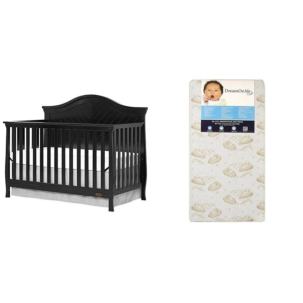 Amazon.com : Dream On Me Kaylin 5 in 1 Convertible Crib, Lavender Ice with Dream On Me Spring Crib and Toddler Bed Mattress, Twilight : Baby
