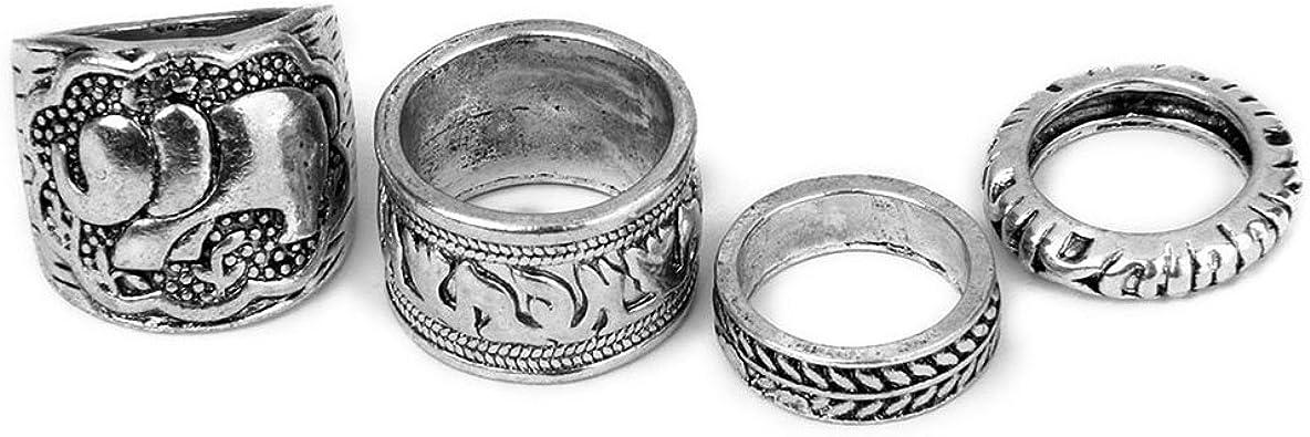 LEORX Conjunto de 4 anillos Vintage pack Ring Set - talla patrón (antigua plata): Amazon.es: Joyería