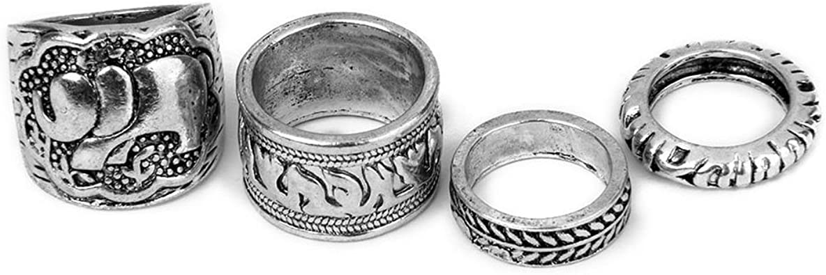LEORX Conjunto de 4 anillos Vintage pack Ring Set - talla patrón ...
