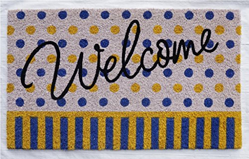(NACH FW-8157 Classic Durable Hygienic Welcoming Doormat, Natural Coconut Coir, 18 x 30 Inches, Polka Dot Welcome Pattern, Blue, Yellow & White)