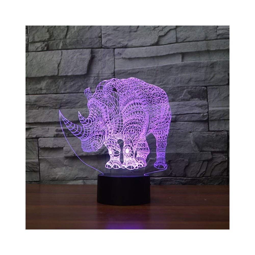 KMDB Rhinoceros Night Light Illusion Lamp Bedside Table Lamp, 7 Colors Changing Touch Switch Desk Decoration Lamps Birthday with Acrylic Flat & ABS Base & USB Cable