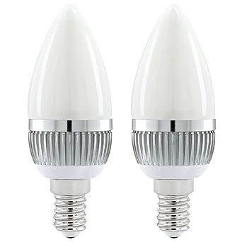 Conjunto de 2 lámparas LED 3 vatios neutros blancos 4200 Kelvin E14 vela luces EEK A