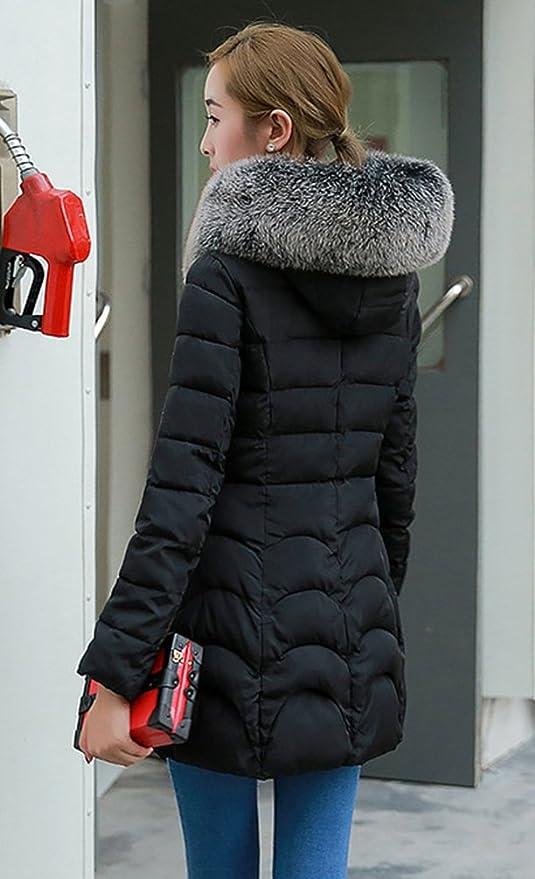 NiSeng Mujer Abrigo Acolchado Chaqueta Larga Abrigo De Invierno Slim Fit Espesar Pelaje Collar Chaquetas con Capucha Negro L: Amazon.es: Ropa y accesorios