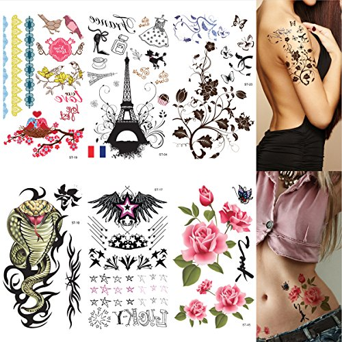 Body Art Sticker (Supperb 6 Sheets Sexy Body Art Temporary Tattoo)