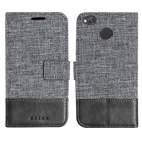 Price comparison product image Xiaomi Redmi 4X Case, Ranyi [Retro Denim Wallet] [Two Piece Color] [ID&Card Holder] [Kickstand Feature] Luxury Flip Folio Magnetic Wallet Protective Case for Xiaomi Redmi 4X (grey)