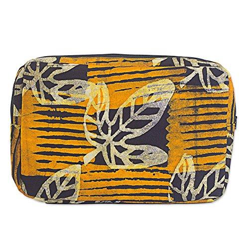 (NOVICA Brown Batik Cotton Tablet Sleeve, Leafy Companion')